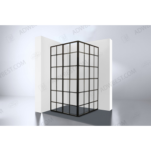 Best-Design  'Black-Corner' douche hoekinstap 890x890x2100x4mm